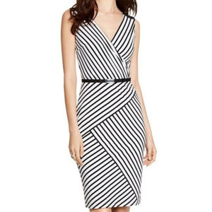 WHBM Sleeveless Stripe Surplice Sheath Dress